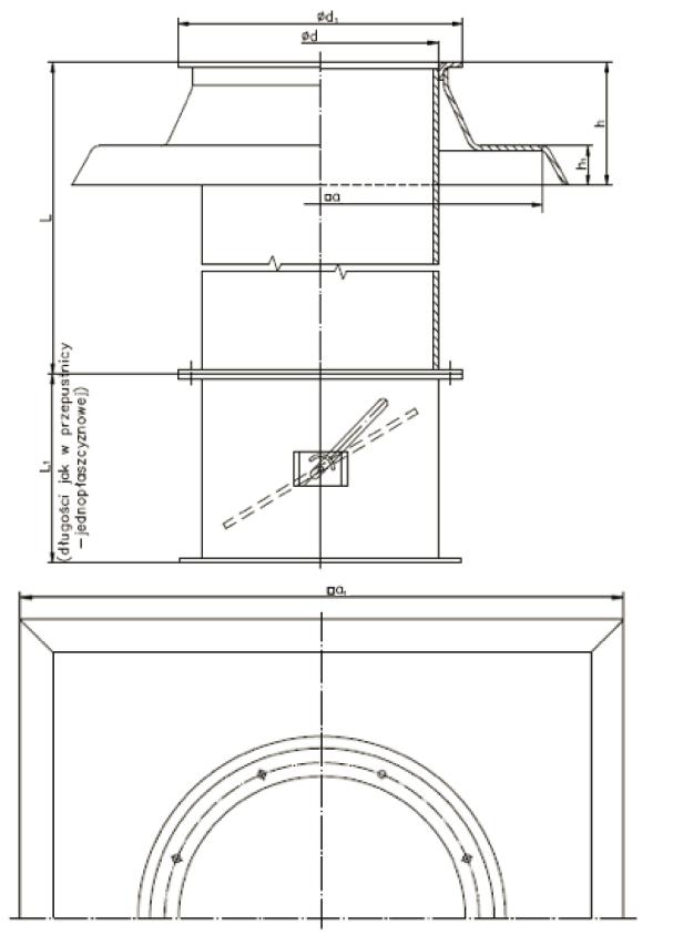 Rysunek wymiary gabarytowe Podstawy dachowej BIII
