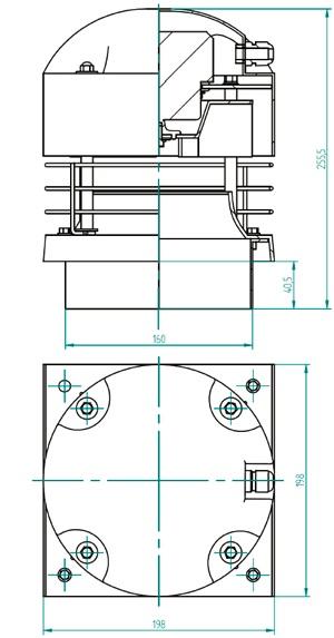 Rysunek wymiary gabarytowe wentylatora dachowego hybrydowego WH-16 na podstawie kwadratowej