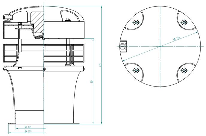 Rysunek wymiary gabarytowe wentylatora WH-20