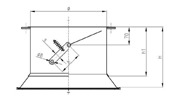 Rysunek wymiarów przepustnicy jednopłaszczyznowej stalowej