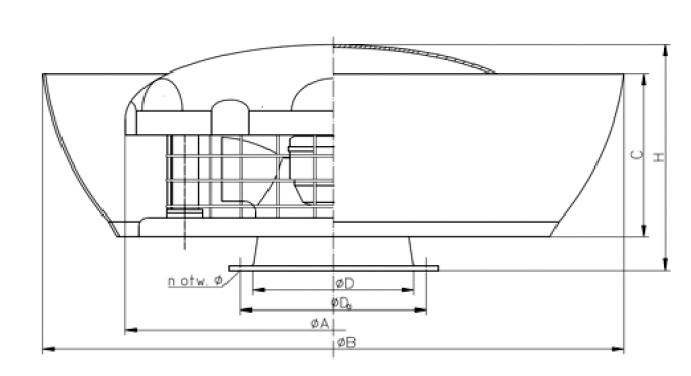 Rysunek wymiary gabarytowe wentylatora WD-EC-o