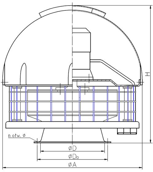 Rysunek wymiary gabarytowe wentylatora WDcsw standardowy dwubiegowy